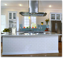 Gourmet Kitchen Island with ceiling ventilation