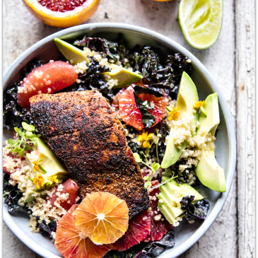 Avocado, quinoa & blackened salmon