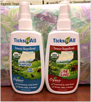 2 Bottles of Ticks-N-All; one All Purpose and the other Lyme Guard