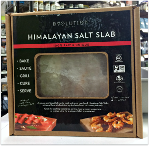 A slab of Evolution brand gourmet pink Himalayan salt