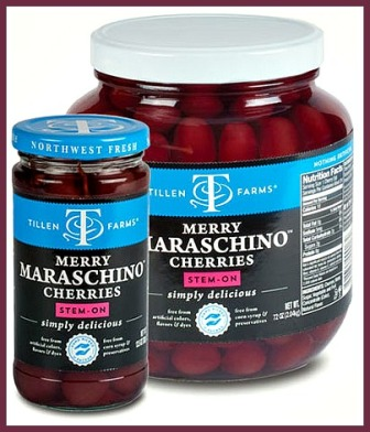 2 different size jars of Tillen Farms Maraschino Cherries