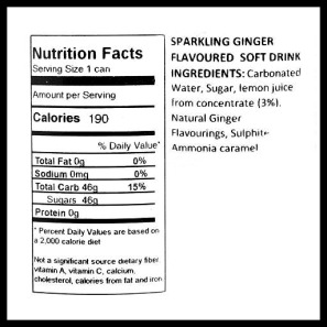 Nutrition facts & ingredient list for Barr's Ginger Beer