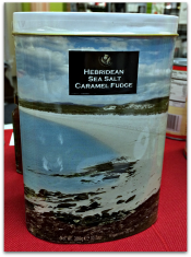 Hebridean Sea Salt Caramel Fudge in decorator tin