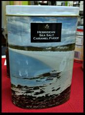 Hebridean Sea Salt Caramel Fudge in decorator tin