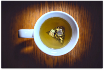 Flat lay photo of a cup of tea