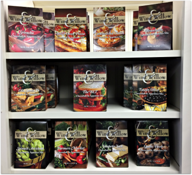 Display of Wind & Willow soup mixes