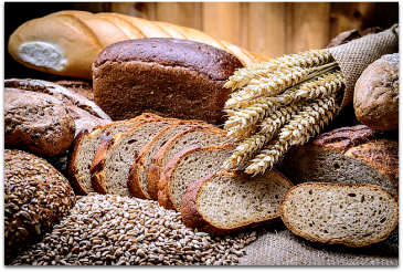 Assorted types of bread & grains