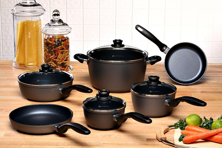 A set of Swiss Diamond Non-Stick Cookware