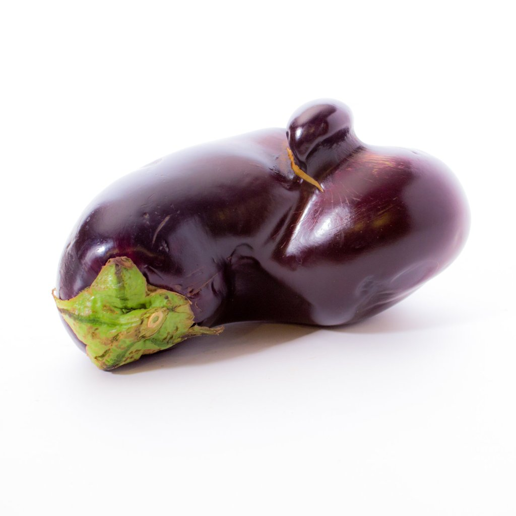 Misshapen eggplant is a good example of imperfect produce that contributes to food waste.